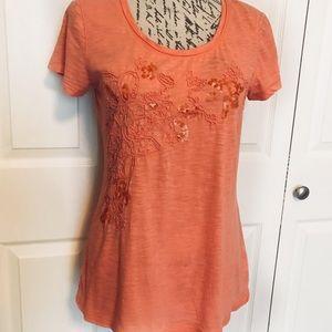 Sonoma Embellished Coral Orange Tee